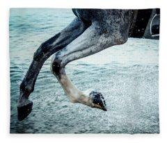 Water Splash Horse Legs Galloping On The Water Fleece Blanket
