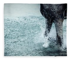 Water Splash Horse Legs Running On The Water Fleece Blanket