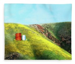 Water Tanks And Wildflowers Fleece Blanket