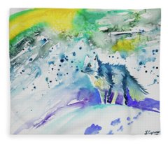 Watercolor - Arctic Fox Fleece Blanket