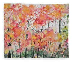 Watercolor - Autumn Forest Fleece Blanket