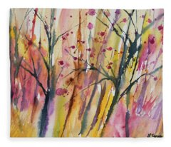 Watercolor - Autumn Forest Impression Fleece Blanket