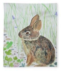 Watercolor - Baby Bunny Fleece Blanket