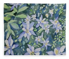 Watercolor - Blue Columbine Wildflowers Fleece Blanket