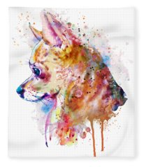 Watercolor Chihuahua  Fleece Blanket