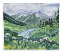 Watercolor - Colorado Summer Landscape Fleece Blanket