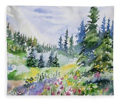 Watercolor - Colorado Summer Scene Fleece Blanket