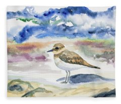 Watercolor - Double-banded Plover On The Beach Fleece Blanket