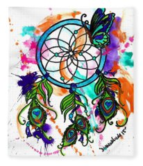 Watercolor Dream Catcher Fleece Blanket