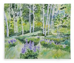 Watercolor - Early Summer Aspen And Lupine Fleece Blanket