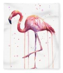 Watercolor Flamingo Fleece Blanket