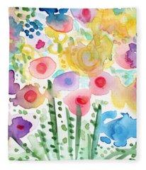 Watercolor Flower Garden- Art By Linda Woods Fleece Blanket