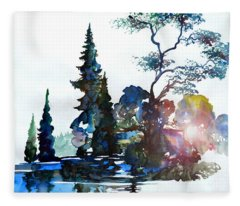 Watercolor Forest And Pond Fleece Blanket