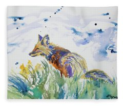 Watercolor - Fox On The Lookout Fleece Blanket