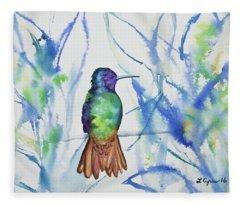 Watercolor - Golden-tailed Sapphire Fleece Blanket