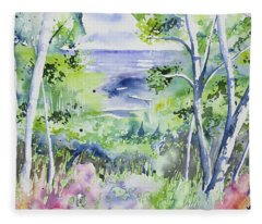 Watercolor - Lake Superior Impression Fleece Blanket