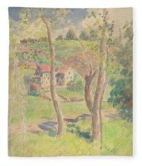 Watercolor Landscape Fleece Blanket