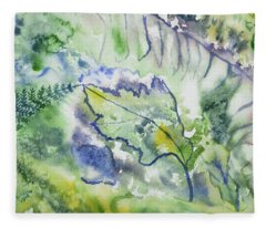 Watercolor - Leaves And Textures Of Nature Fleece Blanket
