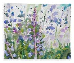 Watercolor - Lupine Wildflowers Fleece Blanket