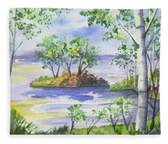 Watercolor - Minnesota North Shore Landscape Fleece Blanket