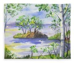 Watercolor - Minnesota North Shore Landscape Fleece Blanket