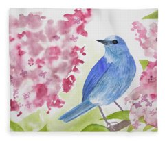 Watercolor - Mountain Bluebird Fleece Blanket