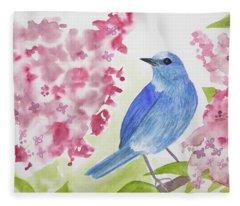 Watercolor - Mountain Bluebird Fleece Blanket
