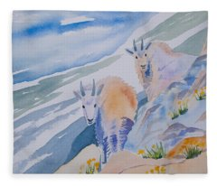 Watercolor - Mountain Goats On Quandary Fleece Blanket