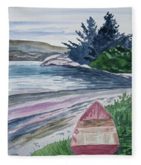Watercolor - New Zealand Harbor Fleece Blanket