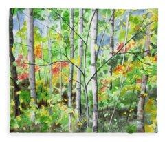 Watercolor - Northern Forest Fleece Blanket