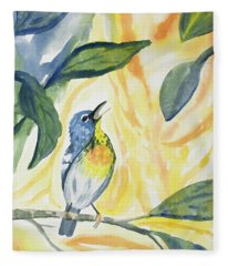 Watercolor - Northern Parula In Song Fleece Blanket