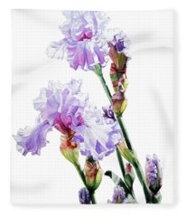 Watercolor Of A Tall Bearded Iris I Call Lilac Iris Wendi Fleece Blanket