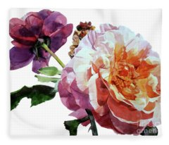 Watercolor Of Two Roses In Pink And Violet On One Stem That  I Dedicate To Jacques Brel Fleece Blanket