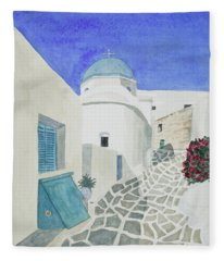 Watercolor - Paros Church And Street Scene Fleece Blanket