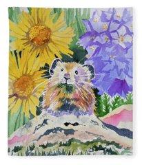 Watercolor - Pika With Wildflowers Fleece Blanket