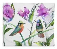 Watercolor - Purple-throated Mountain Gems And Flowers Fleece Blanket