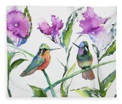 Watercolor - Purple-throated Mountain Gems And Flowers Fleece Blanket