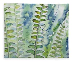Watercolor - Rainforest Fern Impressions Fleece Blanket