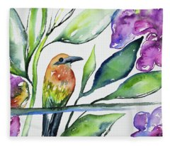 Watercolor - Rufous Motmot Fleece Blanket