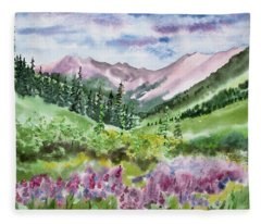 Watercolor - San Juans Mountain Landscape Fleece Blanket