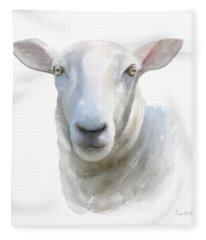 Watercolor Sheep Fleece Blanket