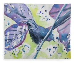 Watercolor - Smooth-billed Ani Fleece Blanket