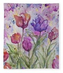 Watercolor - Spring Flowers Fleece Blanket