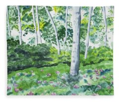 Watercolor - Spring Forest And Flowers Fleece Blanket