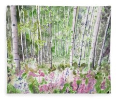 Watercolor - Summer Aspen Glade Fleece Blanket