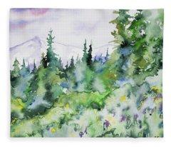 Watercolor - Summer In The Rockies Fleece Blanket