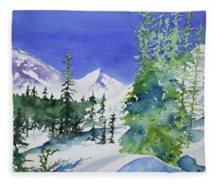 Watercolor - Sunny Winter Day In The Mountains Fleece Blanket