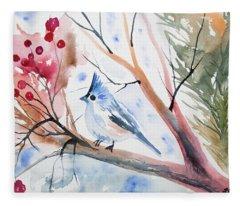 Watercolor - Tufted Titmouse With Winter Berries Fleece Blanket