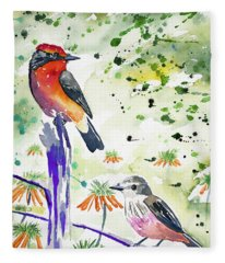 Watercolor - Vermilion Flycatcher Pair In Quito Fleece Blanket
