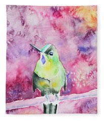 Watercolor - Violet-tailed Sylph Fleece Blanket